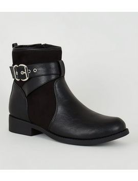 Black Faux Shearling Lined Biker Boots by New Look