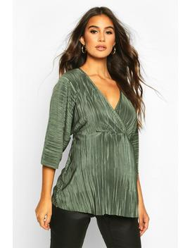 Maternity Plisse Wrap Top by Boohoo