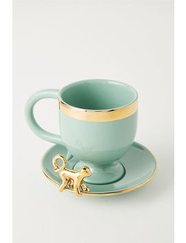 Monkey Detailed Espresso Teacup & Saucer by Anthropologie