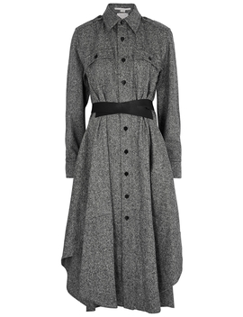 Grey Belted Wool Shirt Dress by Stella Mc Cartney