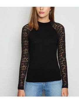 Jdy Black Lace Sleeve Top by New Look