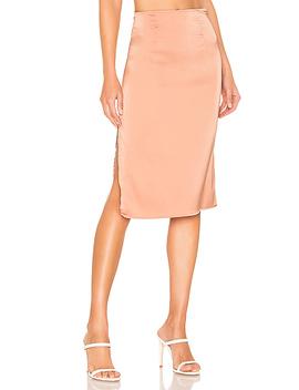 Elise Midi Skirt In Peach by Superdown