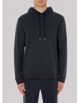 Men's Cotton Cashmere Fleece Hoody In Navy by Sunspel