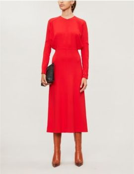 Long Sleeved Crepe Midi Dress by Victoria Beckham