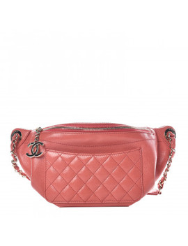 Chanel Crumpled Glazed Lambskin Quilted Waist Bag Fanny Pack Pink by Chanel