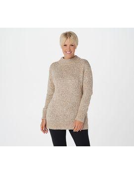 Susan Graver Melange Pullover Mock Neck Sweater by Susan Graver