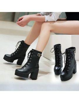 Shoes Galore   Platform Block Heel Lace Up Short Boots by Shoes Galore
