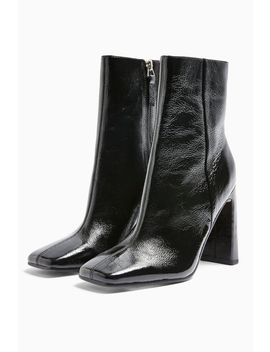 Idol Halia Leather Black Square Toe Boots by Topshop