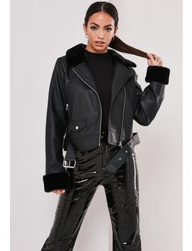 Black Faux Leather Faux Fur Trim Biker Jacket by Missguided