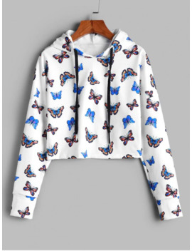 Salezaful Cropped Gorgeous Butterfly Print Hoodie   White S by Zaful
