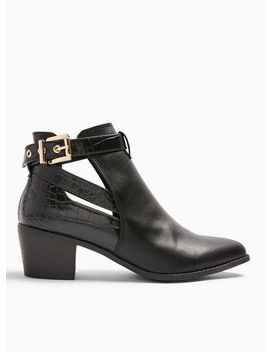 Wide Fit Bambi Black Ankle Boots by Miss Selfridge