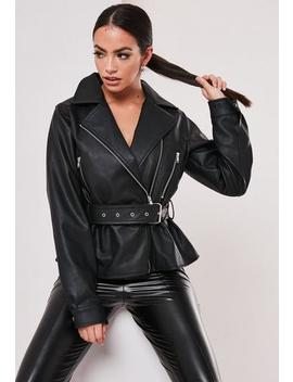 Black Faux Leather Belted Biker Jacket by Missguided
