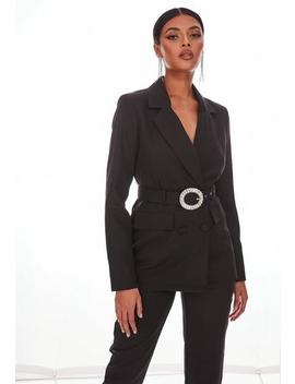 Black Co Ord Diamante Buckle Belt Blazer by Missguided