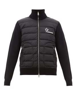 Logo Print Quilted Zip Up Track Top by Moncler