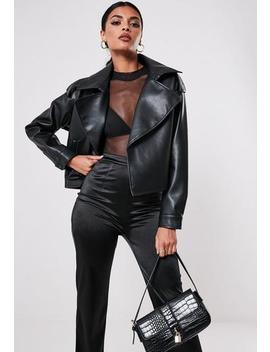 Petite Black Faux Leather Trench Style Crop Jacket by Missguided