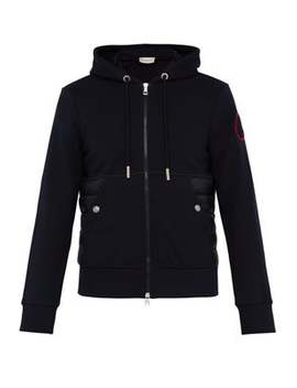 Down And Cotton Zip Up Hooded Track Jacket by Moncler