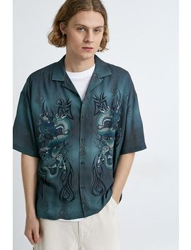 Uo Dragon Teal Revere Short Sleeve Shirt by Urban Outfitters
