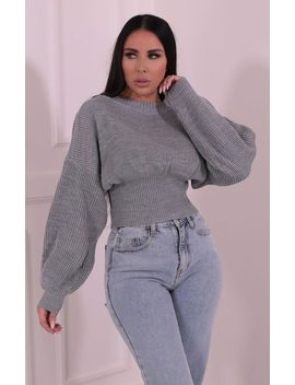 Grey Balloon Sleeve Knitted Jumper   Kelby by Femme Luxe