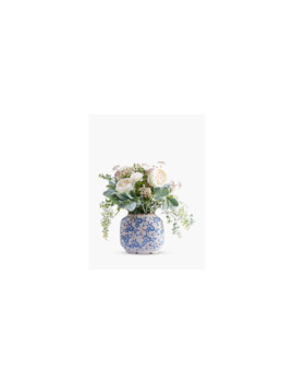 Peony Artificial Country Blue & White Floral Arrangement In Ceramic Vase by Peony