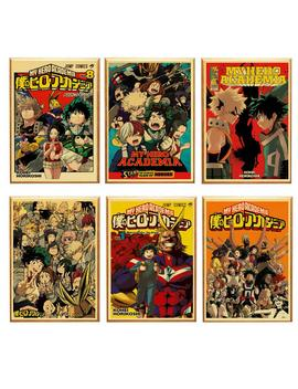 Japanese Anime My Hero Academia Retro Poster Home Decoration Kraft Poster Painting Wall Stickers by Ali Express.Com
