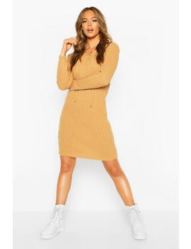 Knitted Tie Front Midi Dress by Boohoo