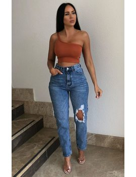 Blue Light Wash High Waisted Rip Distressed Straight Leg Jeans   Nicki by Femme Luxe