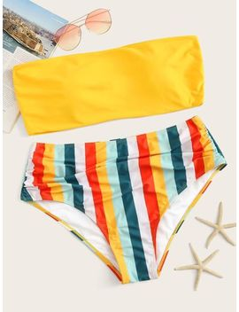 Plus Bandeau With Striped High Waist Bikini by Sheinside