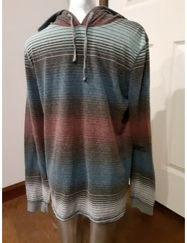 Men's Carbon Pullover Hoodie Large Multicolored Striped Long Sleeve by Carbon