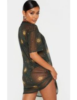 Robe T Shirt Oversize En Mesh Noir à Imprimé Solaire by Prettylittlething