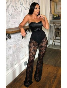 Black Floral Lace Flare Trousers   Lennox by Femme Luxe