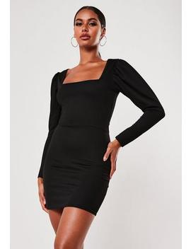 Black Puff Sleeve Square Neck Mini Dress by Missguided