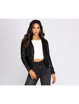 Kick It Up A Notch Faux Leather Moto Jacket by Windsor