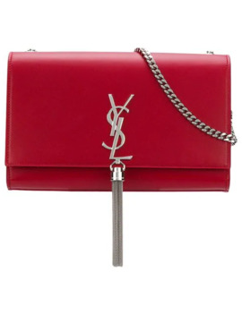 Red Kate Monogram Leather Shoulder Bag by Saint Laurent