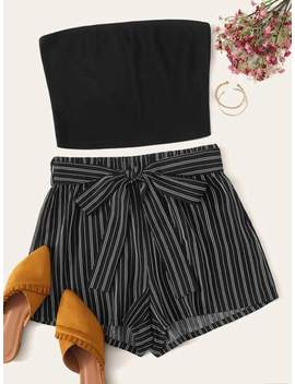 Plus Bandeau Rib Knit Top & Belted Striped Shorts Set by Shein
