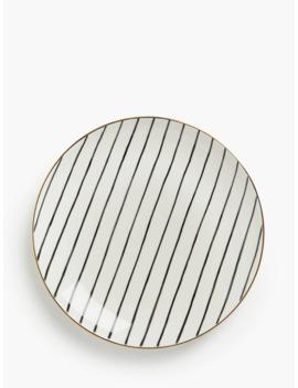 John Lewis & Partners Fusion Gold Edge Striped Plate, 21cm, Black/White by John Lewis & Partners