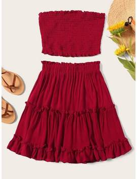 Plus Frill Shirred Tube Top & Layered Ruffle Hem Skirt Set by Shein