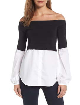 Off The Shoulder Poplin Sweater by TrouvÉ