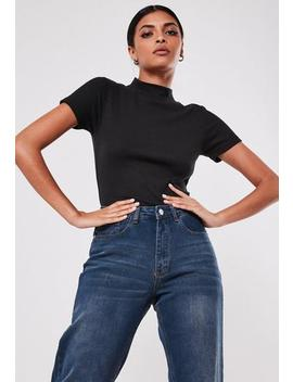 Black Rib High Neck Crop Top by Missguided