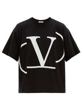Deconstructed V Logo Cotton T Shirt by Valentino