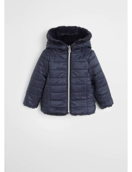 Faux Fur Quilted Reversible Anorak by Mango