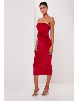 Red Velvet Bandeau Belted Midi Dress by Missguided