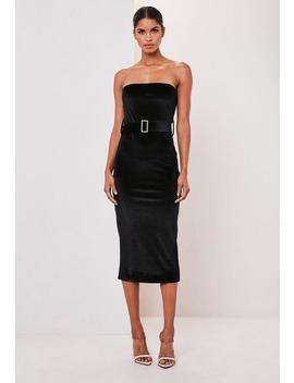 Black Velvet Bandeau Belted Midi Dress by Missguided