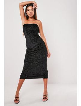 Black Glitter Velvet Bandeau Midaxi Dress by Missguided