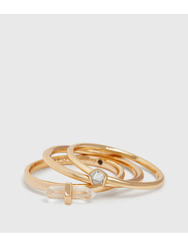 Quin Gold Tone Semi Precious Crystal Quartz Three Ring Set by Allsaints