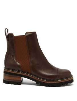 Scallop Edged Leather Chelsea Boots by See By Chloé