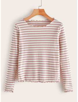 Striped Lettuce Trim Ribbed Tee by Romwe