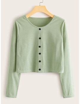 Striped Button Front Crop Tee by Romwe