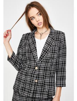 Black Plaid Tweed Blazer by Honey Punch