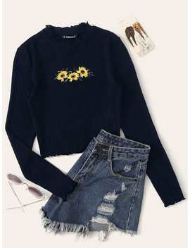 Lettuce Trim Embroidered Rib Knit Tee by Romwe