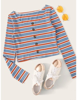 Striped Button Front Rib Knit Tee by Romwe